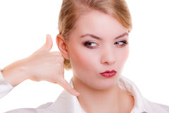 Businesswoman making call me gesture. Business communication. Royalty Free Stock Images