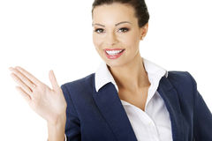 Businesswoman making choose with her palm Stock Images