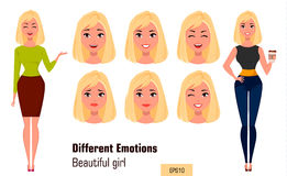 Businesswoman making different face expressions. Young attractive girl with various emotions Stock Photo