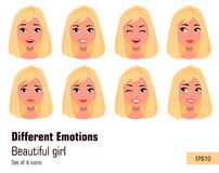 Businesswoman making different face gestures. Young attractive girl with various emotions. Set of eight vector illustrations Stock Photography