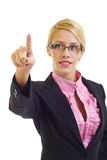 Businesswoman making an imaginary choice Royalty Free Stock Photo