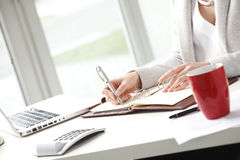 Businesswoman making notes in office. Royalty Free Stock Photography