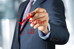 Businesswoman  making  one's choice between truth or lie Royalty Free Stock Photography