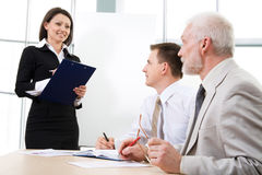 Businesswoman making presentation Royalty Free Stock Images