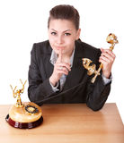 Businesswoman making silence gesture. Stock Photos