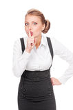 Businesswoman making silence sign Royalty Free Stock Images