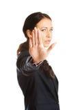 Businesswoman making stop sign Stock Photos