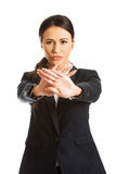 Businesswoman making stop sign Stock Photography