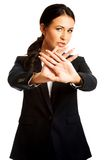 Businesswoman making stop sign Royalty Free Stock Image