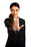 Businesswoman making stop sign Royalty Free Stock Photo