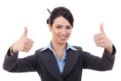 Businesswoman making the thumbs up Royalty Free Stock Images