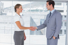 Businesswoman and man shaking hands Stock Photo