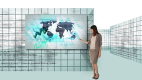Businesswoman and man working with futuristic screen interfaces stock footage