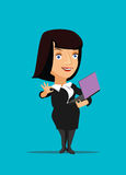 Businesswoman manager CEO organizing using and holding laptop  illustration Royalty Free Stock Photos