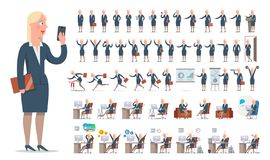 Businesswoman or manager character creation big set. Different views, gestures, emotions. The woman is standing, running, sitting. Office equipment, furniture royalty free illustration