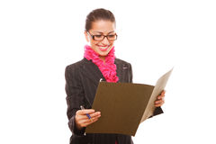Businesswoman manager with folder Royalty Free Stock Photo