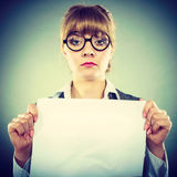 Businesswoman manager holding blank copy space. Royalty Free Stock Photography