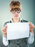 Businesswoman manager holding blank copy space. Stock Image