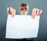 Businesswoman manager holding blank copy space. Royalty Free Stock Images