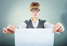 Businesswoman manager holding blank copy space. Royalty Free Stock Image
