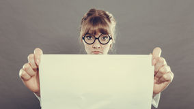 Businesswoman manager holding blank copy space. Stock Photography