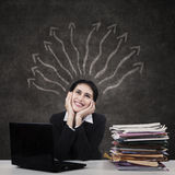 Businesswoman with many business inspirations Royalty Free Stock Image