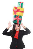 Businesswoman with many gifts over the head Stock Images
