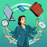 Businesswoman many hands business idea time Royalty Free Stock Images