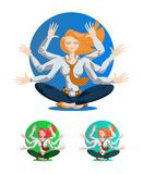 Businesswoman with many hands stock illustration