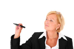 Businesswoman with marker Stock Image