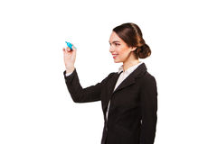 Businesswoman with a marker, white background Stock Image