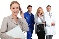 Businesswoman, mechanic, doctor and hairdresser Royalty Free Stock Images
