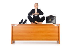 Businesswoman meditating Stock Photo