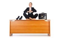 Businesswoman meditating Stock Photo