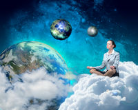Businesswoman meditating Stock Images