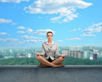 Businesswoman meditating Royalty Free Stock Images