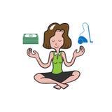Businesswoman meditation balance money appliance Stock Photos