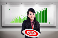 Businesswoman meet target profit sales Stock Photo