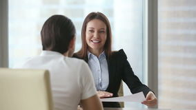 Businesswoman meeting client