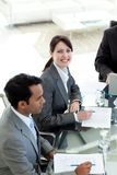 Businesswoman in a meeting smiling at the camera Stock Photo
