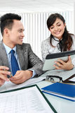Businesswoman meeting using tablet pc Stock Photo