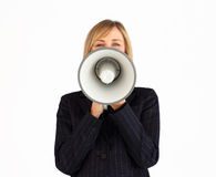Businesswoman with a megaphone Stock Photography