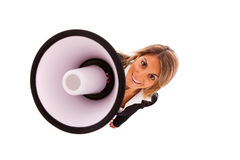 Businesswoman at the megaphone Stock Photography