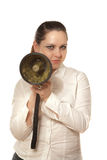 Businesswoman with megaphone Stock Photos
