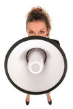 Businesswoman with Megaphone Stock Photo