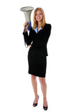 Businesswoman with megaphone Royalty Free Stock Photos