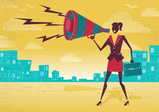 Businesswoman with Megaphone. Royalty Free Stock Image