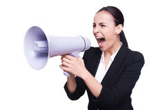 Businesswoman with megaphone. Stock Photography