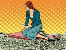 Businesswoman mermaid sitting on money Royalty Free Stock Images