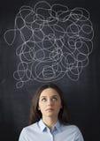Businesswoman Mess on Blackboard Royalty Free Stock Photo
